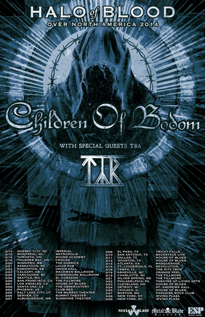 "300 - Children of Bodom announce ""Halo Of Blood Over North America Tour"" with TYR"