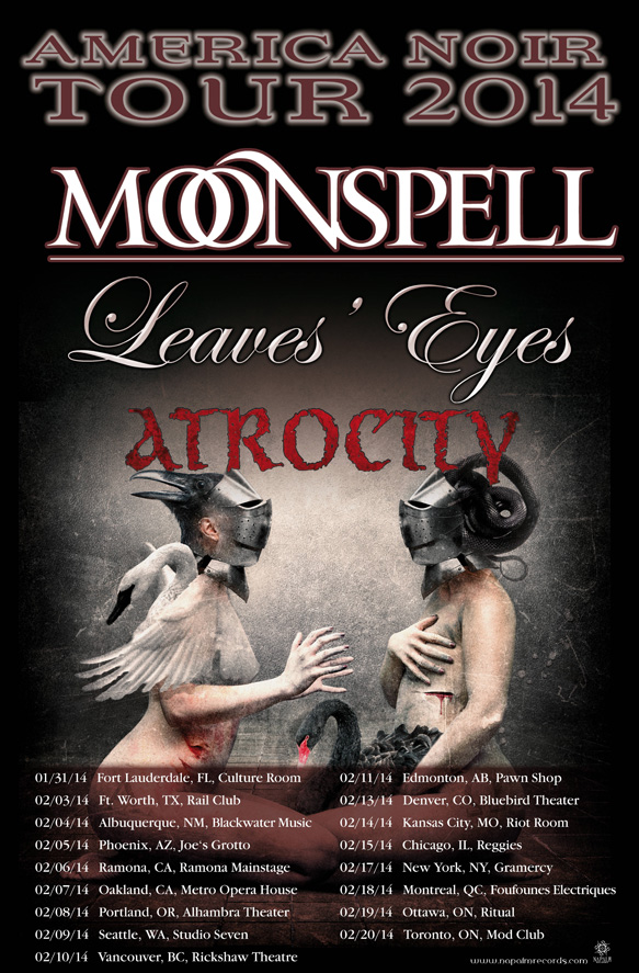 "oibq - MOONSPELL Announces ""America Noir"" Tour 2014 with Leaves Eyes & Atrocity"