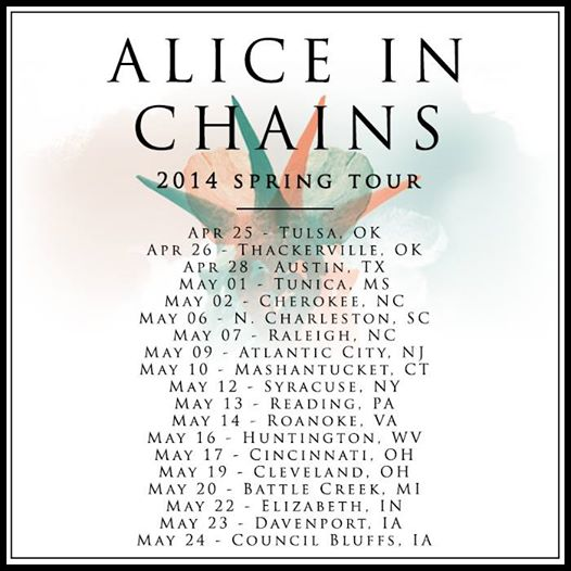 AliceInChains 2014SpringTourPoster - Alice In Chains announce 2014 North American tour dates
