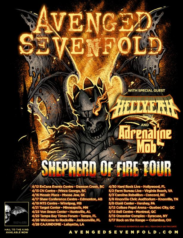 717 - Adrenaline Mob join Avenged Sevenfold and Hellyeah for April/May Shows.