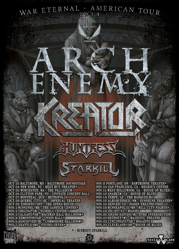 arch enemy tour poster - Arch Enemy & Kreator team up for North American Tour