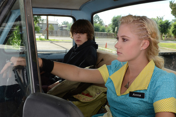 Brendan Meyer and Maika Monroe in The Guest 2014 Movie Image - The Guest (Movie Review)