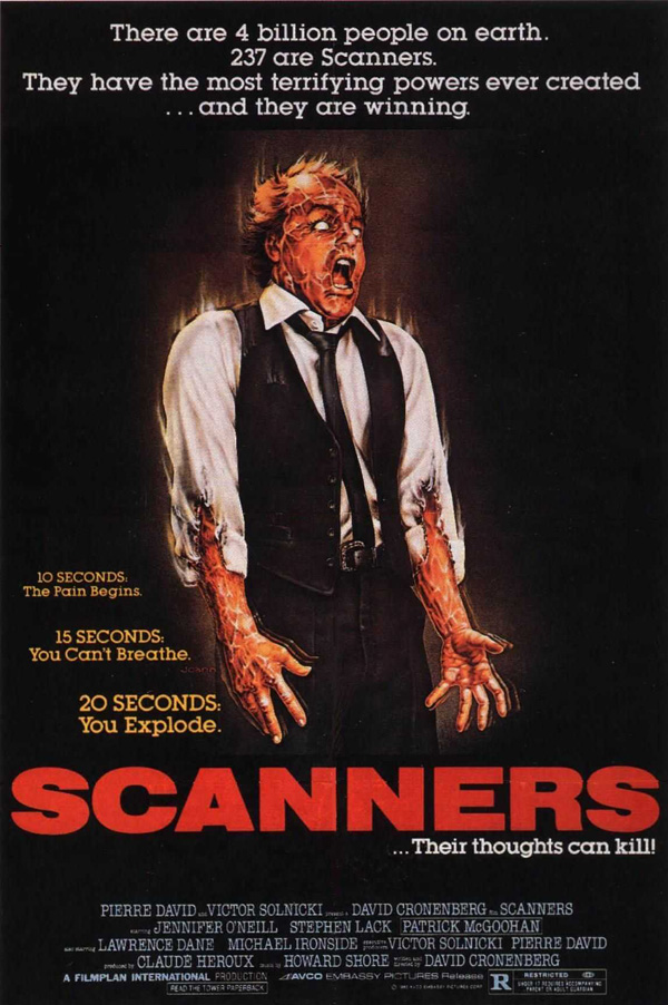 Scanners 1981 poster - Scanners - Still Blowing Minds After 35 Years