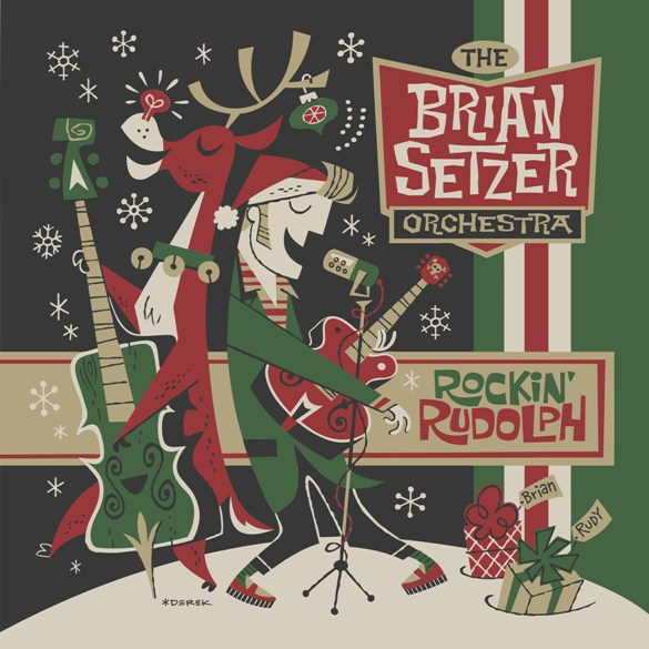 brian setzer orchestra rockin rudolph cover art - The Brian Setzer Orchestra - Rockin' Rudolph (Album Review)