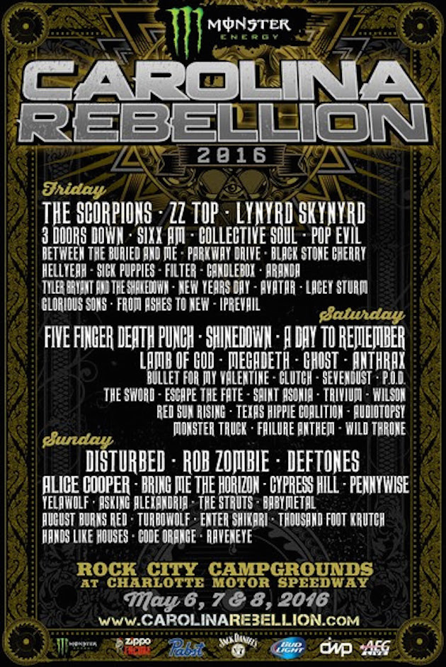 Carolina Rebellion 2016 Lineup Poster - Monster Energy Carolina Rebellion Set For May 6th-8th