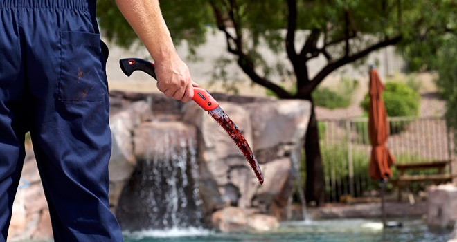 Pool Party Massacre Blade Still - Pool Party Massacre (Movie Review)